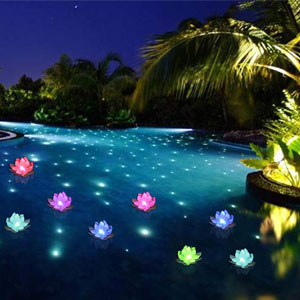 floating led pool flowers