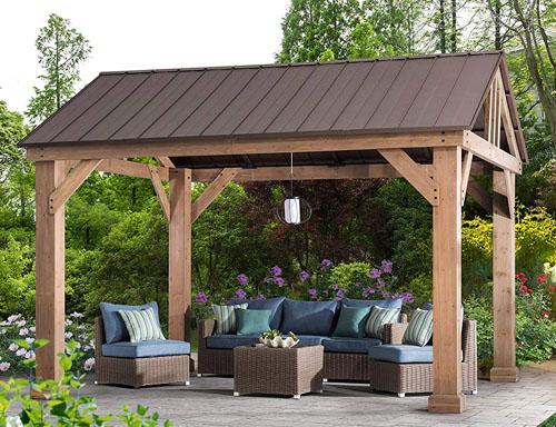 Sunjoy 14' x 12' cedar wood gazebo with hardtop