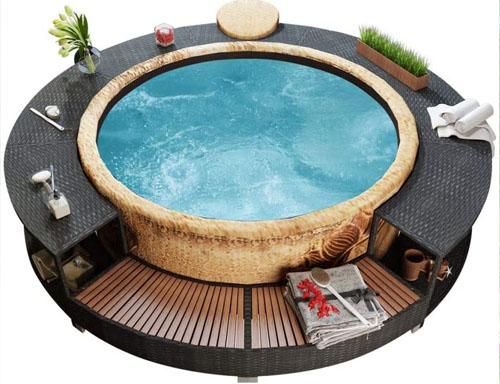 wooden spa surround circular