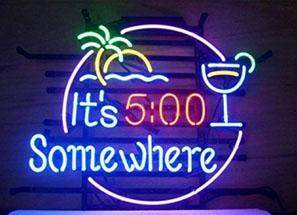 5 oclock somewhere beach bar neon sign