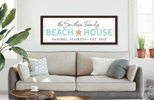 personalized beach house sign canvas
