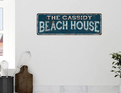 personalized metal beach sign tin