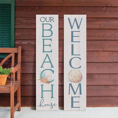vertical beach house sign