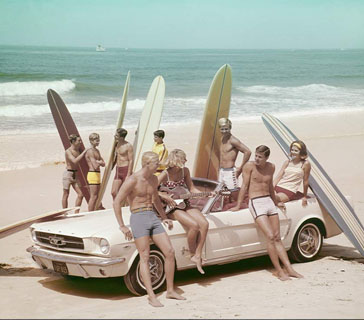 vintage 50s beach print