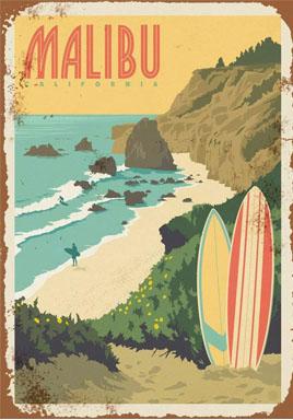 vintage malibu beach sign