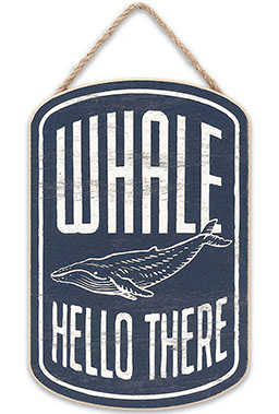 whale hello there beach sign