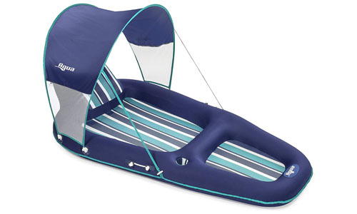Aqua pool lounger with sunshade canopy