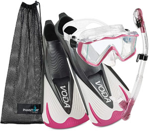 Italian-made premium Phantom Aquatics snorkel set