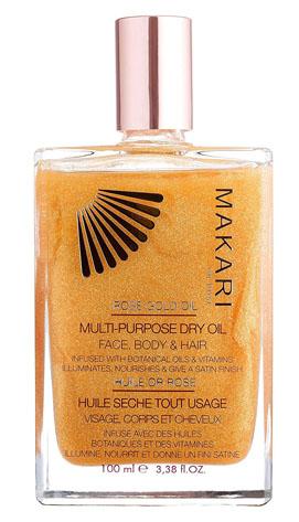 Makari rose gold dry shimmer body oil for beach