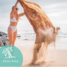 Sand-free sustainable beach towel with hidden pocket