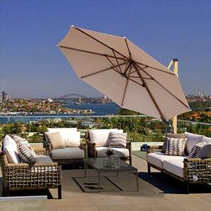 Commercial-grade cantilever patio umbrella