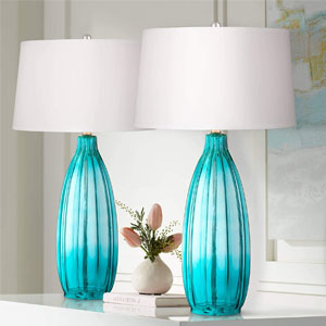 Fluted blue glass table lamps