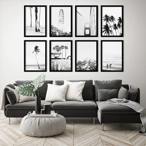 Framed California coastline black and white photos
