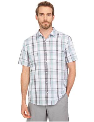 Men's Hurley plaid organic shirt sleeve beach shirt